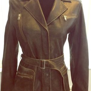 Dark gray faded Leather jacket with tan lining